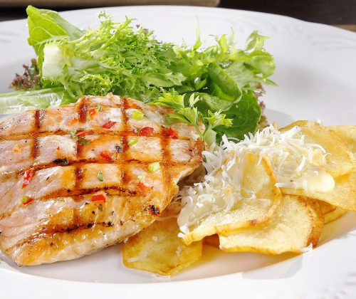salmon, cheese, food